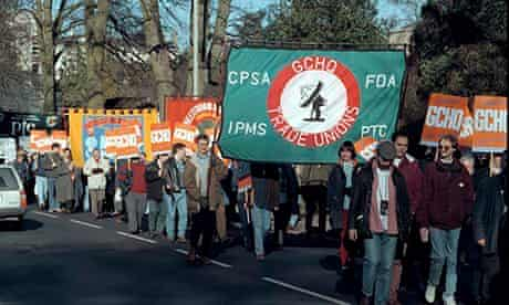 Secrets: Trades unions march to protest against the continued ban on union membership at GCHQ