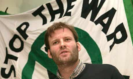 Secrets: Ben Griffin at a press conference in front of a Stop the War banner