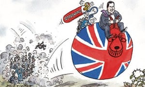 Cartoon by Dave Simonds showing George Osborne fuelling borrowing