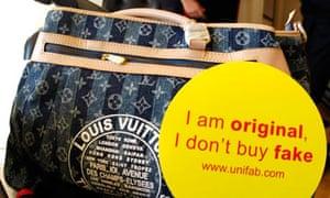 A counterfeit Louis Vuitton handbag