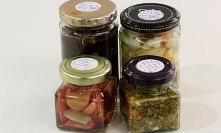 Jars of homemade pickles