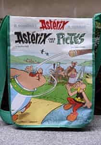 A bag showing the cover of the new book Asterix chez les Pictes (Asterix and the Picts), in Paris.