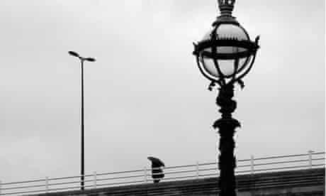 A rainy Waterloo bridge in London