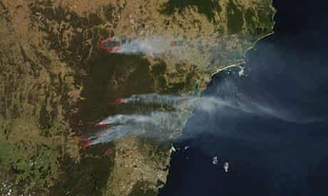 Satellite pictures of wildfires near Sydney