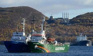Greenpeace ship Arctic Sunrise anchored outside Murmansk, Russia
