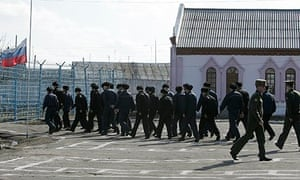 Prisoners marching in yard at a penal colony in Mordovia in 2007.