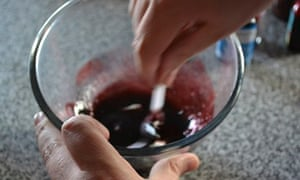 Fake blood stirred in a mixing bowl
