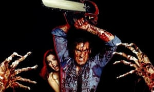 Bruce Campbell covered in 'blood' in The Evil Dead (1981)