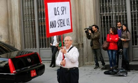 Protesting in Spain against NSA spying