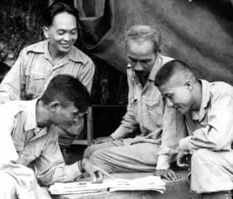 General Vo Nguyen Giap, Ho Chi Minh and two others