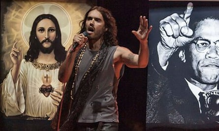 Russell Brand performing his Messiah Complex standup show