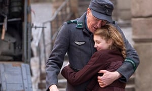 markus zusak the book thief film s biggest hurdle was death  geoffrey rush and sophie nelisse hug in a scene from the book thief