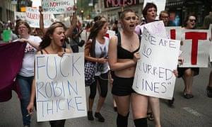 Anti-Robin Thicke protesters