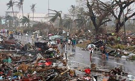 Devastation caused by typhoon Haiyan