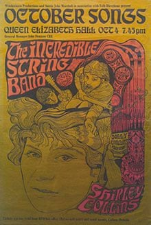 A poster for the Incredible String Band and Shirley Collins' October Songs concert