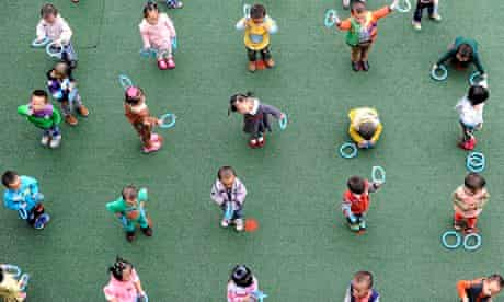 Children play at a kindergarten in Yingxiu, Sichuan province