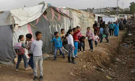Syrian refugee children at Delhamiyeh, Lebanon, earlier this month.