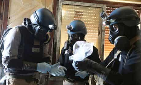 UN chemical weapons inspectors in Damascus, in August.