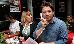Jamie Oliver answers phones at a fundraising telethon