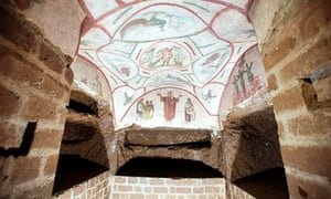 A fresco in the catacombs of Priscilla, a labyrinthine cemetery complex that stretches under Rome.