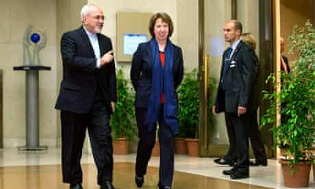 Catherine Ashton and Mohammad Javad Zarif talk and talk together at the UN in Geneva