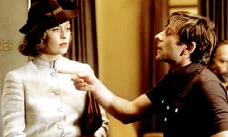Faye Dunaway and Roman Polanski on the set of Chinatown.
