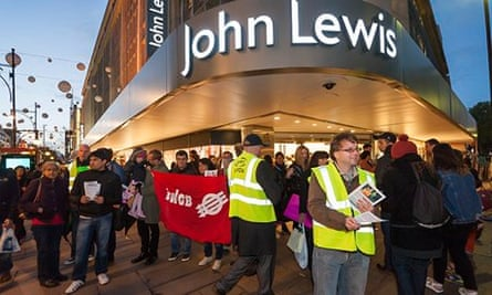 City Link Workers and John Lewis Cleaners protest outside the Oxford Street store