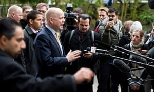 Foreign secretary William Hague speaks to journalists before talks on Iran's nuclear program in Gene