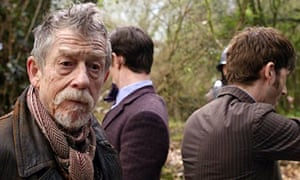 Show-stealing performance … John Hurt as the war Doctor, with Mat Smith and David Tennant