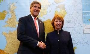 Catherine Ashton with US Secretary of State John Kerry