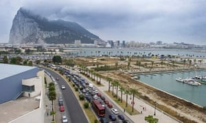 Mmotorists queuing at the border crossing between Spain and Gibraltar