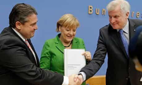 Chancellor Angela Merkel with Horst Seehofer, of the CSU and Sigmar Gabriel, of the SPD