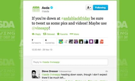 Asda's Twitter page requesting Black Friday feedback