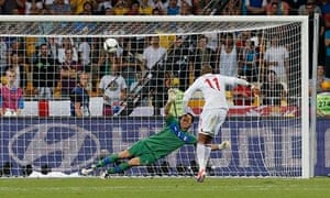 Ashley Young hits the crossbar for England during the penalty shootout against Italy at Euro 2012