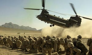 Chinook Lands with Royal Marines on board