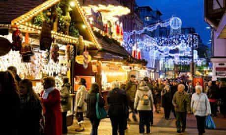 Shoppers at Birmingham Frankfurt Christmas Market