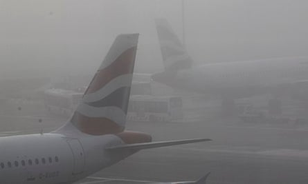 Fog cat Heathrow airport in London