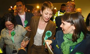 Caroline Lucas celebrates after becoming Britain's first Green Party MP.