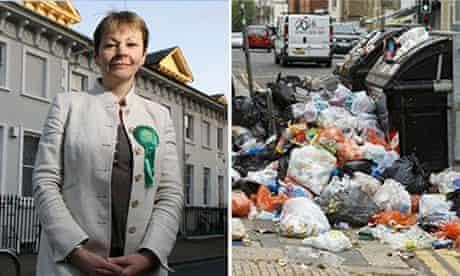 Caroline Lucas in 2010 and a scene from the Brighton rubbish strike.