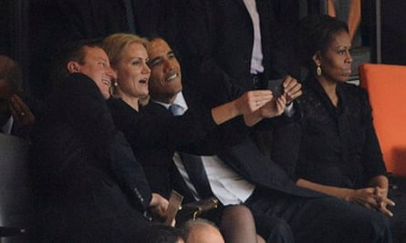 Helle-Thorning Schmidt poses with David Cameron and Barack Obama at the Mandela memorial service