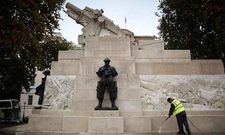 The Royal Artillery memorial in London being cleaned in time for Armistice Day 2011.