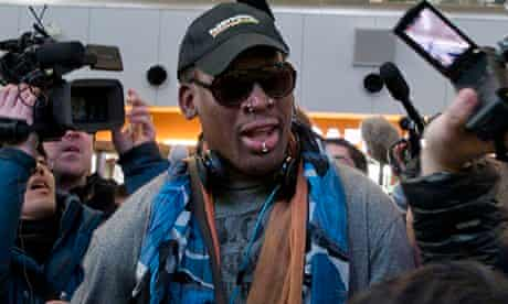 Dennis Rodman on his way to North Korea