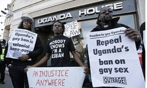 Protesters outside Ugandan embassy in central London in 2009