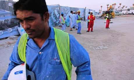 Migrant workers on Saadiyat Island, Abu Dhabi.
