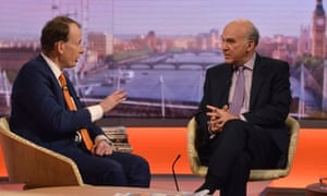Vince Cable in studio with Andrew Marr on BBC1's Andrew Marr Show