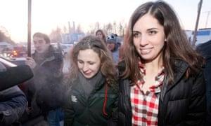 Pussy Riot members Tolokonnikova and Alyokhina outside Yemelyanovo airport in Krasnoyarsk