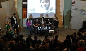 Arctic 30 activists meet residents of St Petersburg on 23 December.