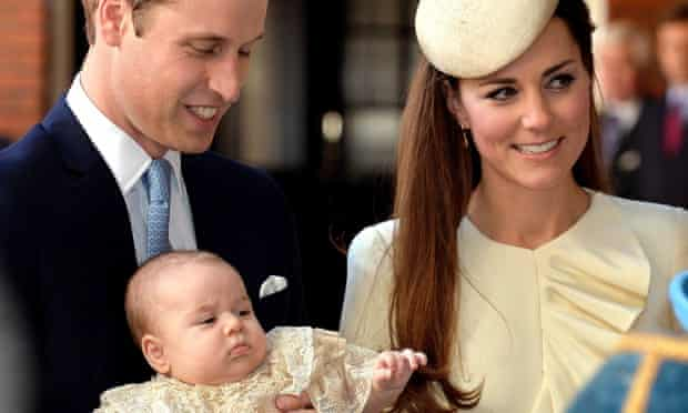 Prince William and the Duchess of Cambridge with Prince George at his christening in October 2013.