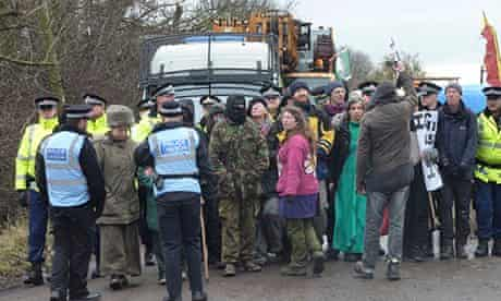 Anti fracking protesters blockade drilling site