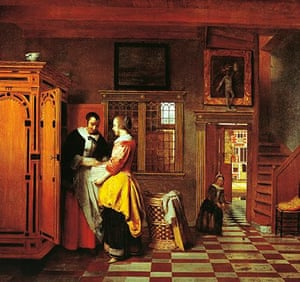 At linen closet, by Pieter de Hooch (1629-1684)